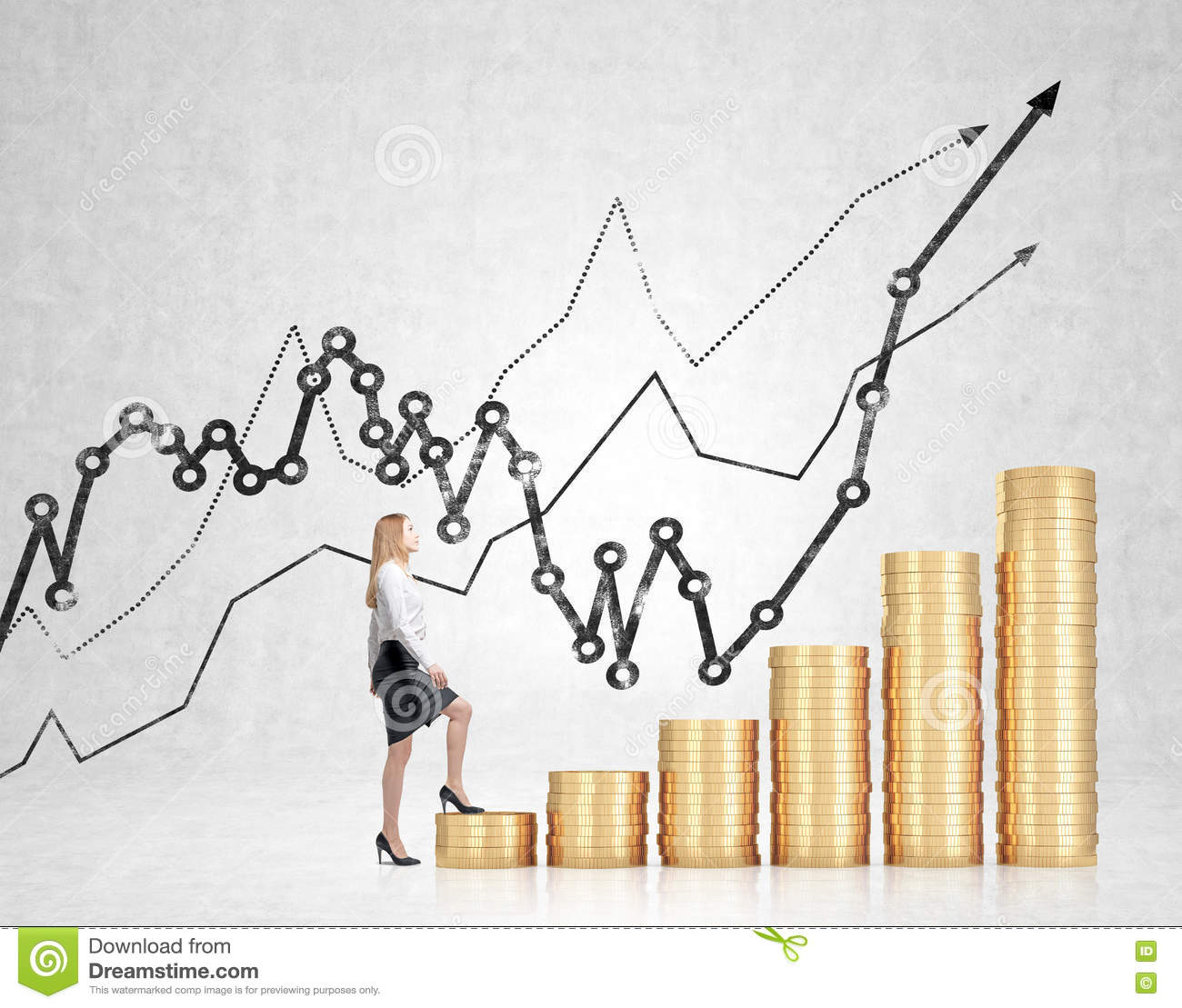 Femme d affaires financire de croissance 70332054